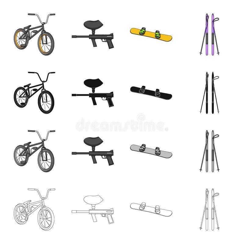 Sporty jechać na rowerze, paintball maszyna, krańcowy jazda na snowboardzie, zjazdowy narciarstwo Krańcowego sporta ustalone inka royalty ilustracja