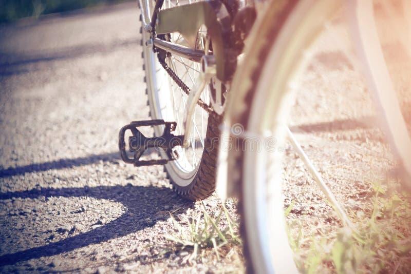 Sporty jechać na rowerze stojaki na drodze żwir, iluminującej światłem słonecznym zdjęcia royalty free
