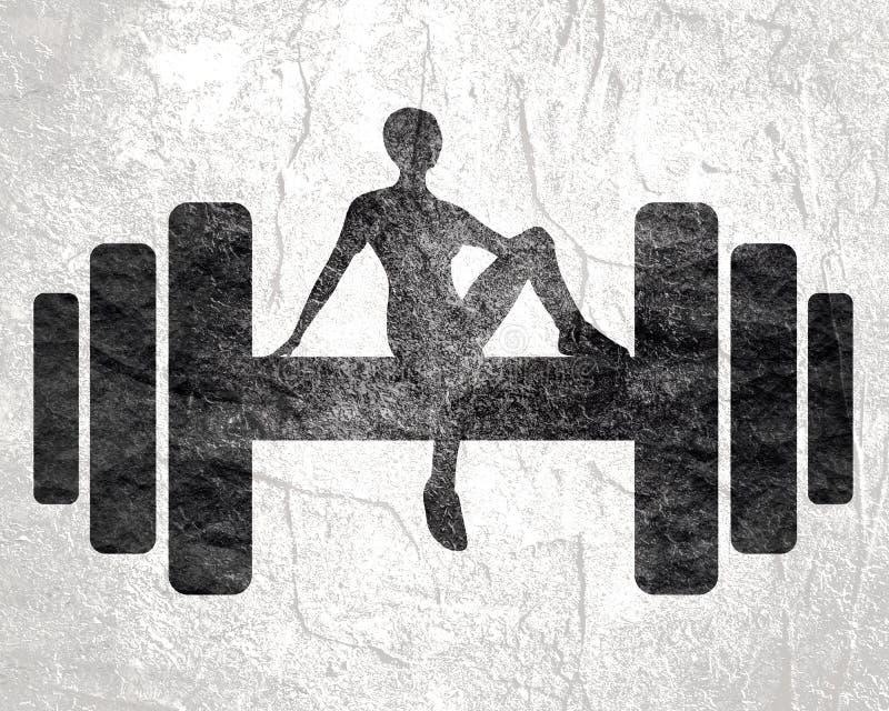 Sporty kobieta siedzi na dumbbell ilustracji