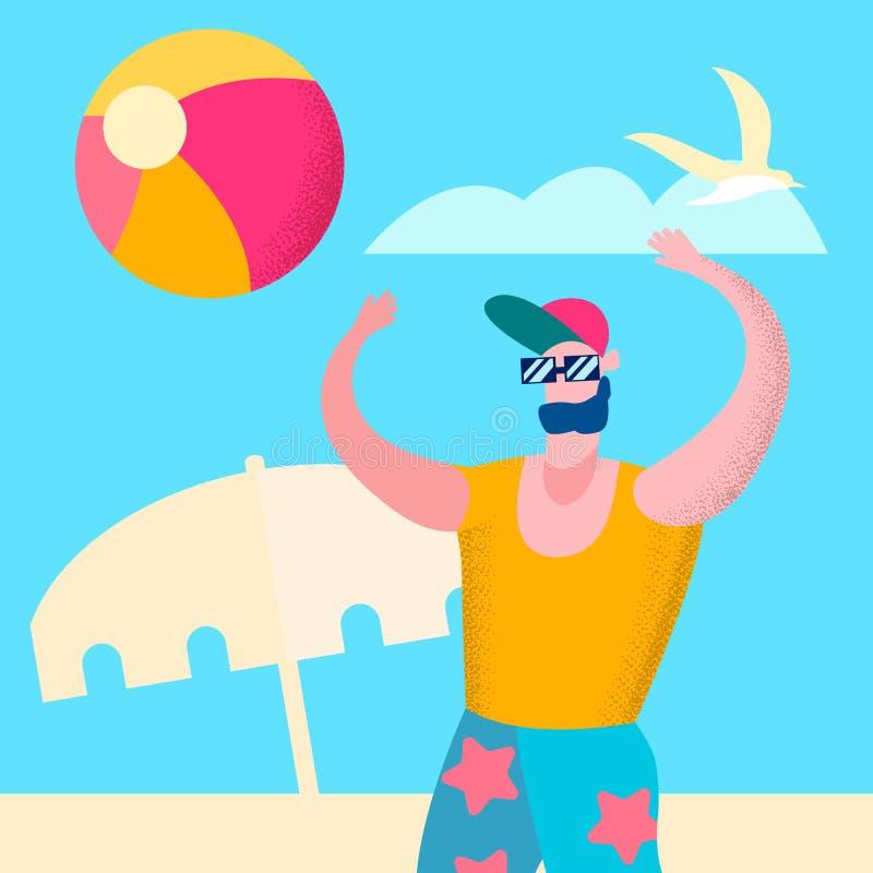 Sporty mężczyzna Bawić się Plażowej siatkówki ilustrację ilustracji