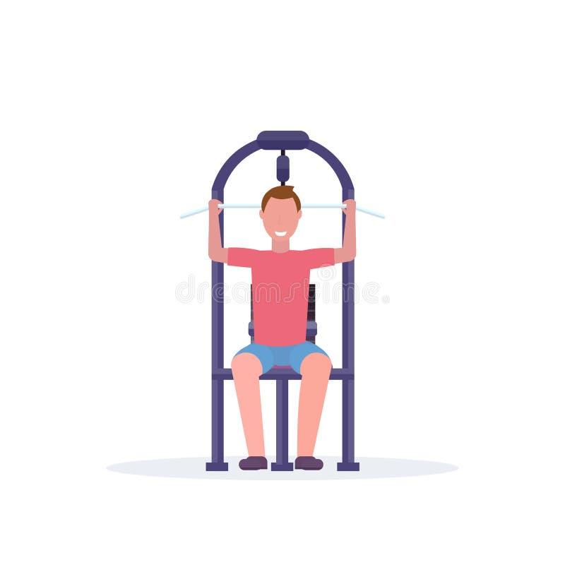 Sporty mężczyzna opracowywa na lat ciągnie puszka bodybuilder maszynowego szkolenie w gym stażowego aparata styl życia zdrowym po royalty ilustracja