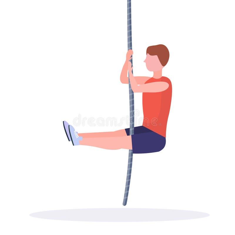 Sporty mężczyzna robi linowemu pięcia ćwiczenia faceta szkoleniu w gym crossfit treningu styl życia cardio zdrowego pojęcia płask ilustracja wektor