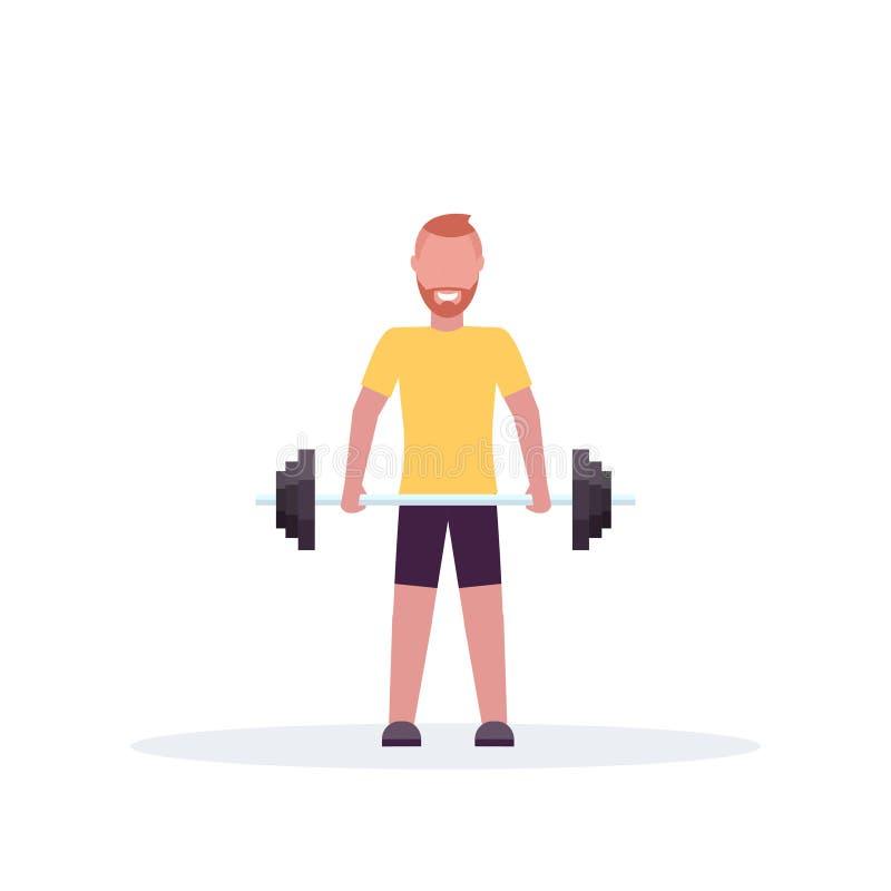 Sporty mężczyzny podnośny barbell z ciężaru bodybuilder szkoleniem w gym opracowywa zdrową styl życia pojęcia pozycji pozę ilustracji