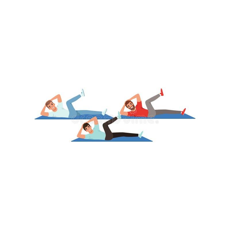 Sporty młodzi faceci robi skrętów chrupnięć ćwiczeniom Aktywny trening Kreskówka mężczyzna w sportswear Zdrowy Styl życia ludzie ilustracji