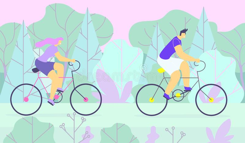 Sporty Man and Woman Couple Cycling in Forest stock illustration