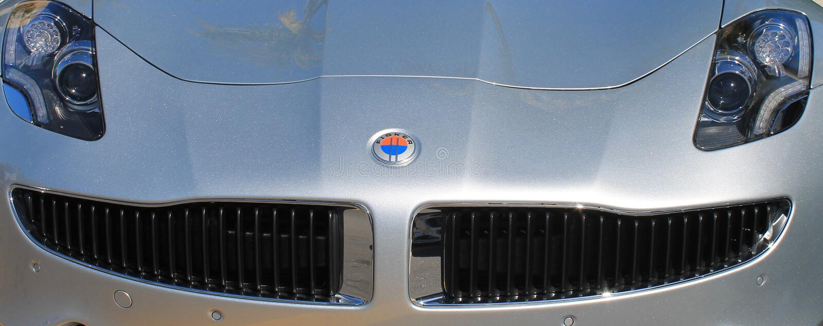 American supercar headlamps and grille stock images
