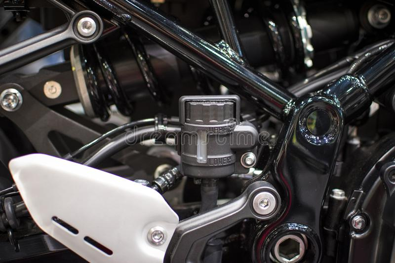A sporty motorcycle engine, new, clean luminous stock images
