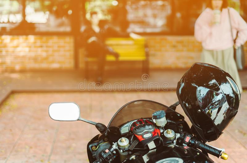 A sporty motorcycle parked royalty free stock photo