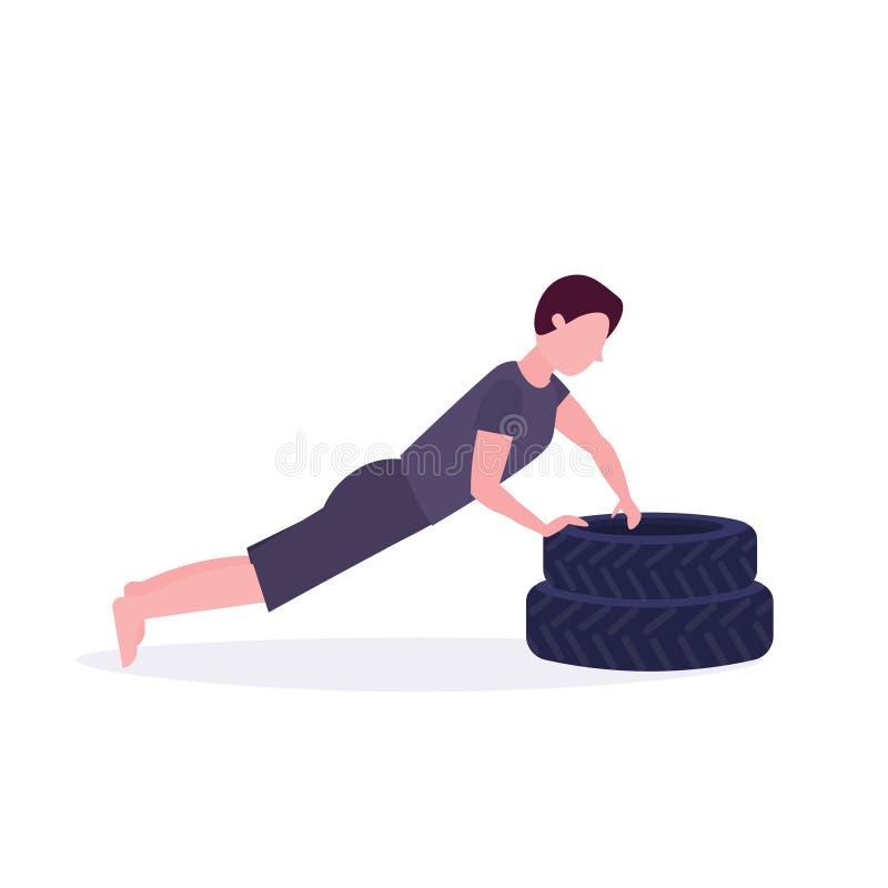 Sporty obsługują robić w górę ćwiczenia na opony bodybuilder opracowywa w gym styl życia pojęcia ciężkim stażowym zdrowym mieszka royalty ilustracja