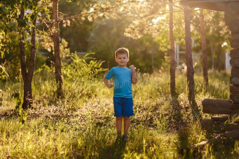Sporty pięcioletnia Kaukaska chłopiec w błękitnej koszulce i zwiera stojaki w parku w tylnym świetle słonecznym w lecie zdjęcia royalty free