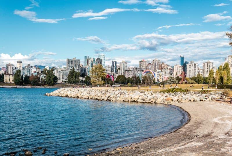 Sporty przy Vanier parkiem blisko Kitsilano plaży w Vancouver, Kanada obraz stock