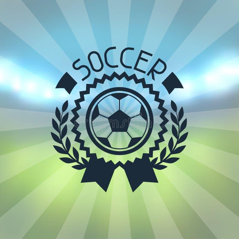 Sporty przylepiają etykietkę z piłka nożna symbolami ilustracja wektor