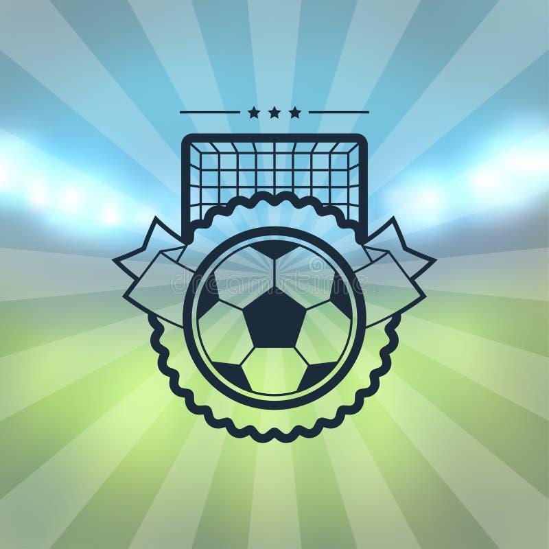 Sporty przylepiają etykietkę z piłka nożna symbolami royalty ilustracja