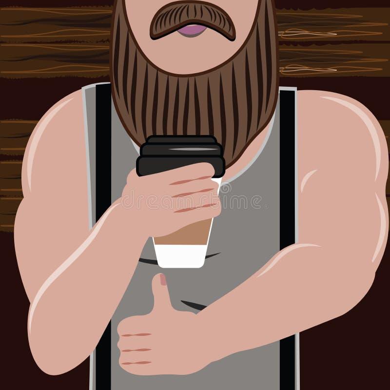 Sporty przystojny mężczyzna z brodą kocha i napój ilustracja wektor