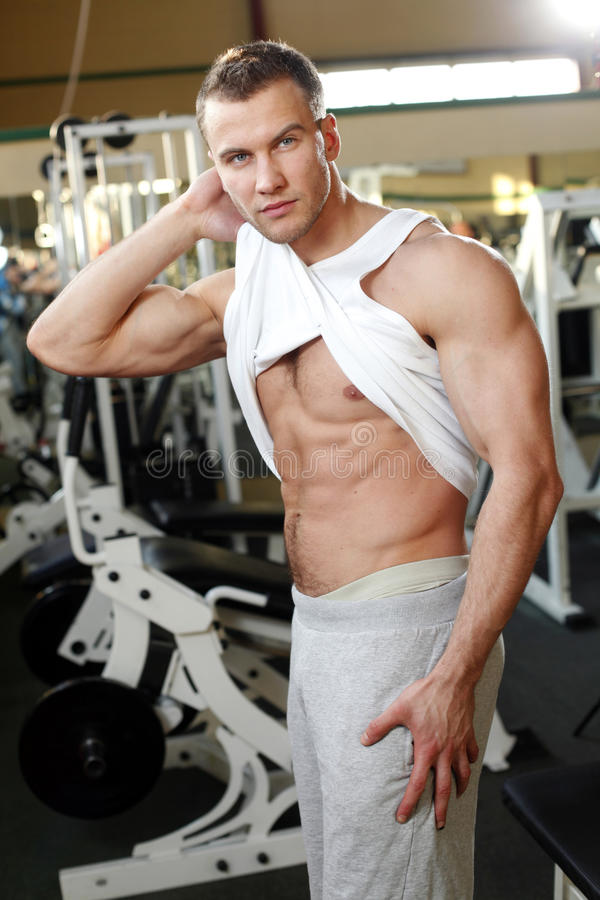 Sporty man posing in gym. Muscle sporty man in fym stock images