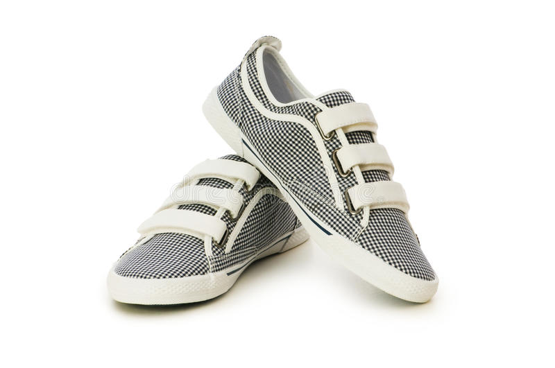 Sporty shoes isolated on the white stock photo