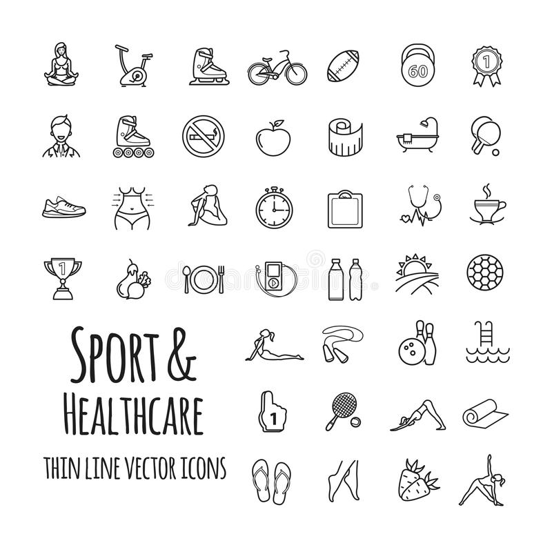 Sporty, sporta wyposażenie, zdrowe styl życia ikony ustawiać ilustracji