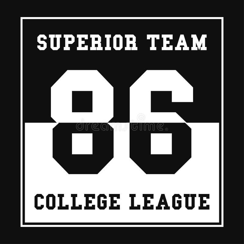 Sporty, szkoły wyższa koszulki ligowe grafika Numerowa sport typografia Druk, koszulki grafika ilustracji