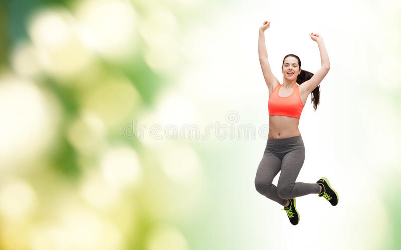Download Sporty Teenage Girl Jumping In Sportswear Stock Image - Image: 40266031