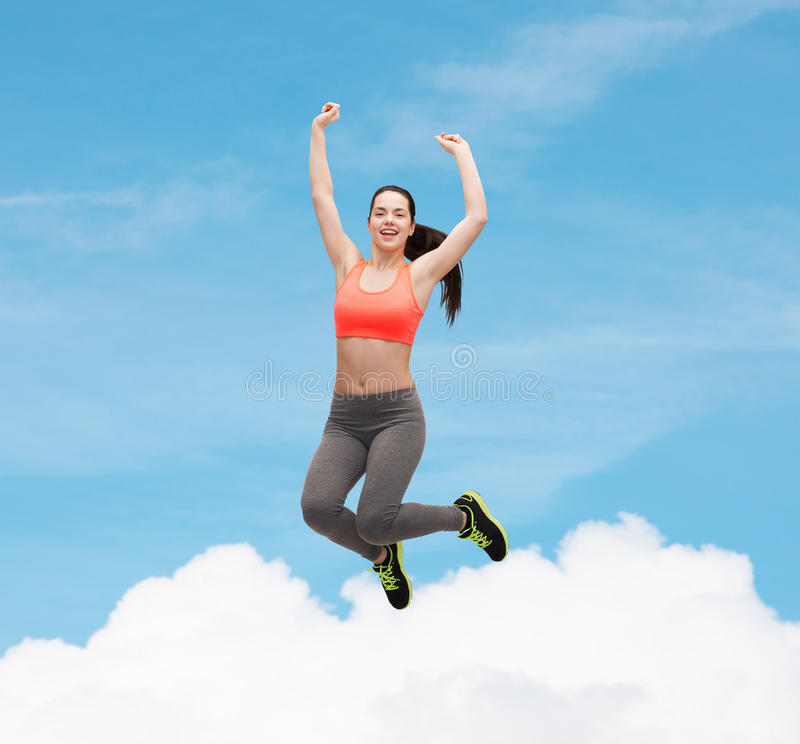 Download Sporty Teenage Girl Jumping In Sportswear Stock Photo - Image: 40266180