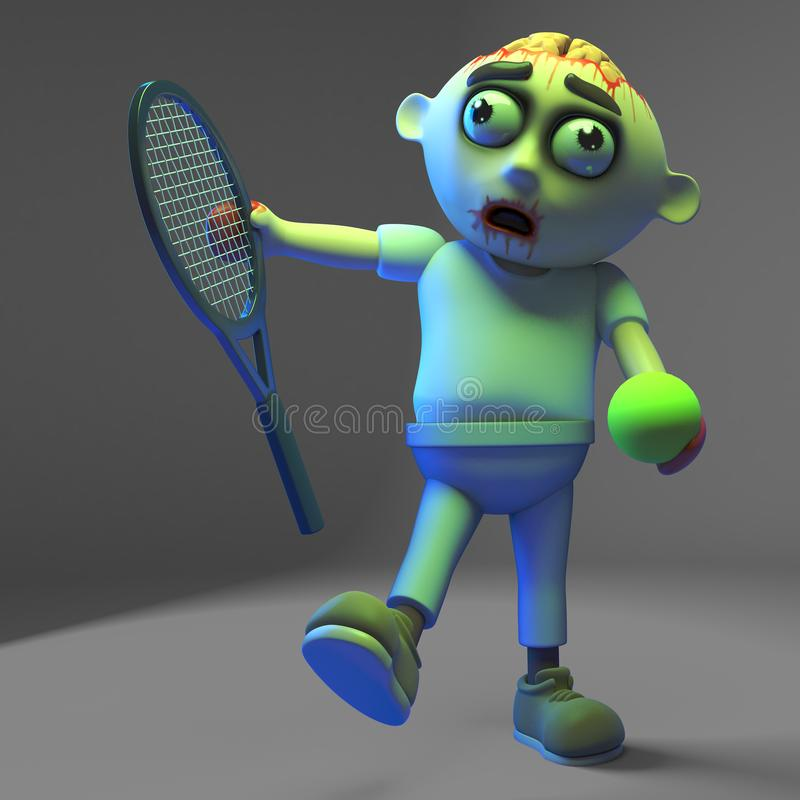 Sporty undead zombie monster is learning to play tennis, 3d illustration. Render stock illustration