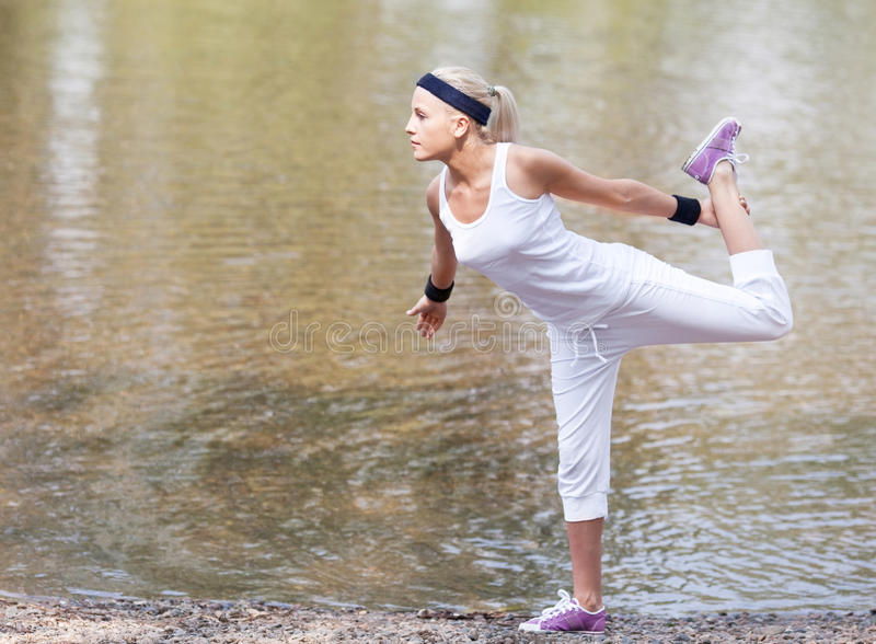 Download Sporty woman stock image. Image of female, flex, park - 20062045