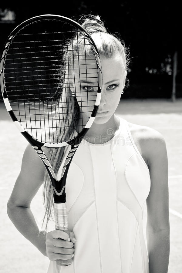 Download Sporty woman stock image. Image of athletic, racket, sandy - 27394799