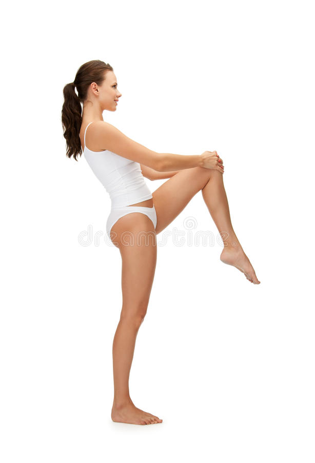Download Sporty Woman In Cotton Undrewear Stock Image - Image of excercise, attractive: 39513795