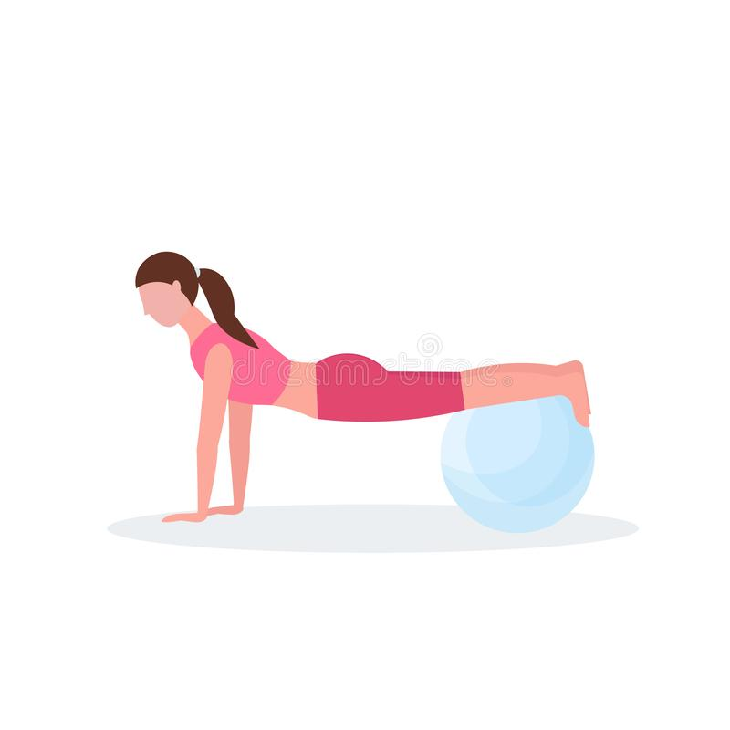 Sporty woman doing exercises with fitness ball girl training in gym aerobic pilates workout healthy lifestyle concept royalty free illustration