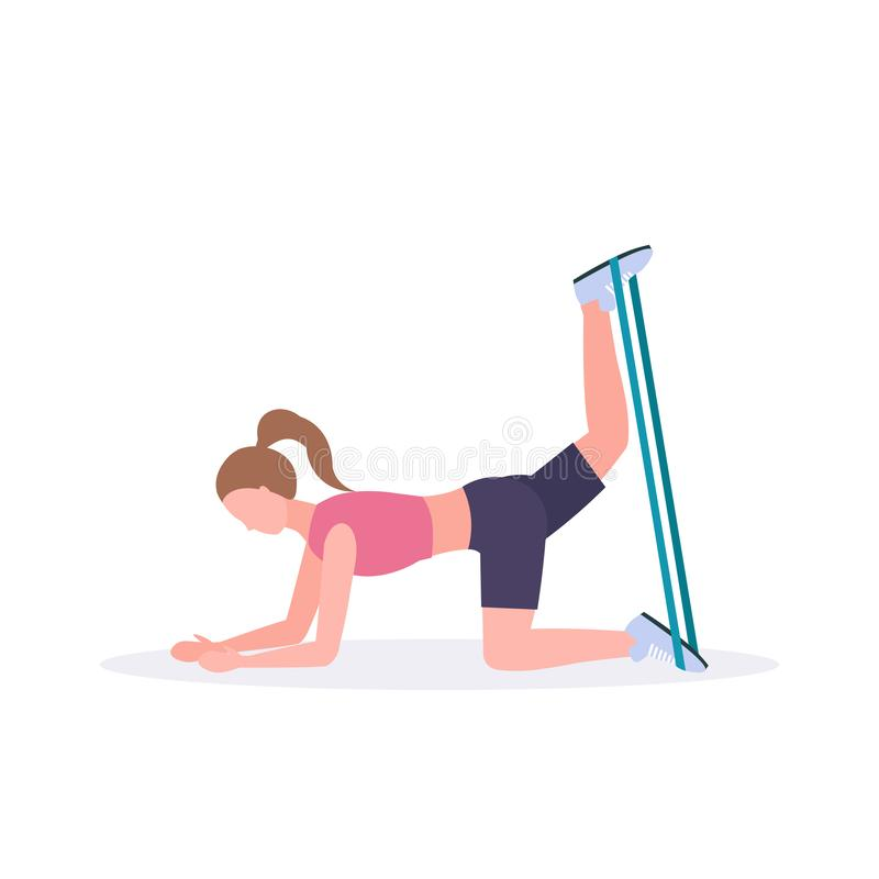 Sporty woman doing exercises with resistance band girl training in gym stretching workout healthy lifestyle concept flat. White background vector illustration royalty free illustration
