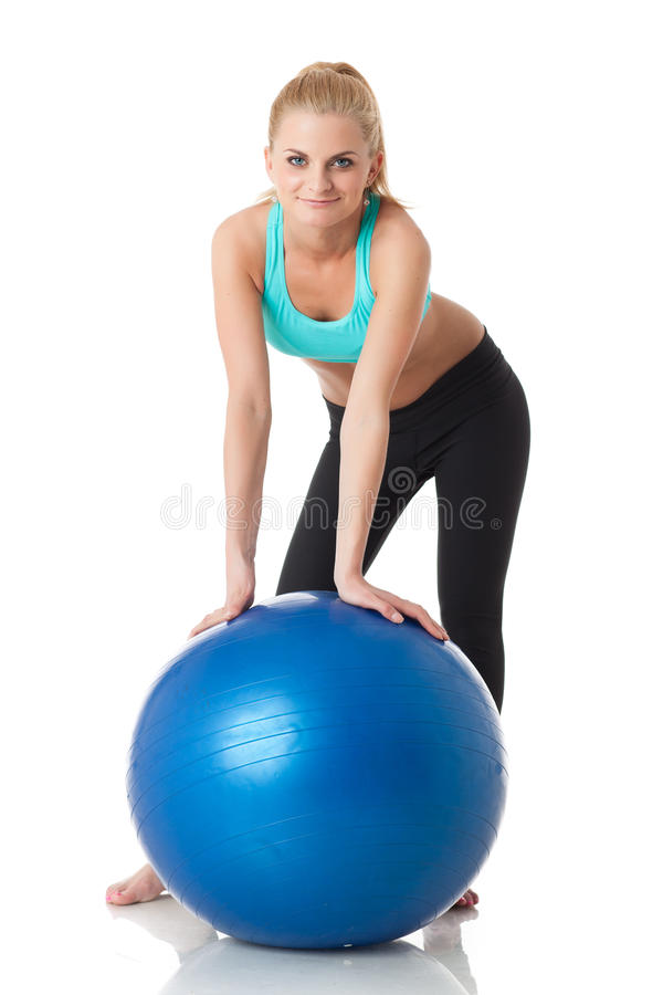 Download Sporty Woman With Gymnastic Ball Stock Image - Image: 28743977