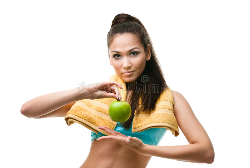 Download Sporty Woman Hands Green Apple Stock Photo - Image of action, asian: 28882138