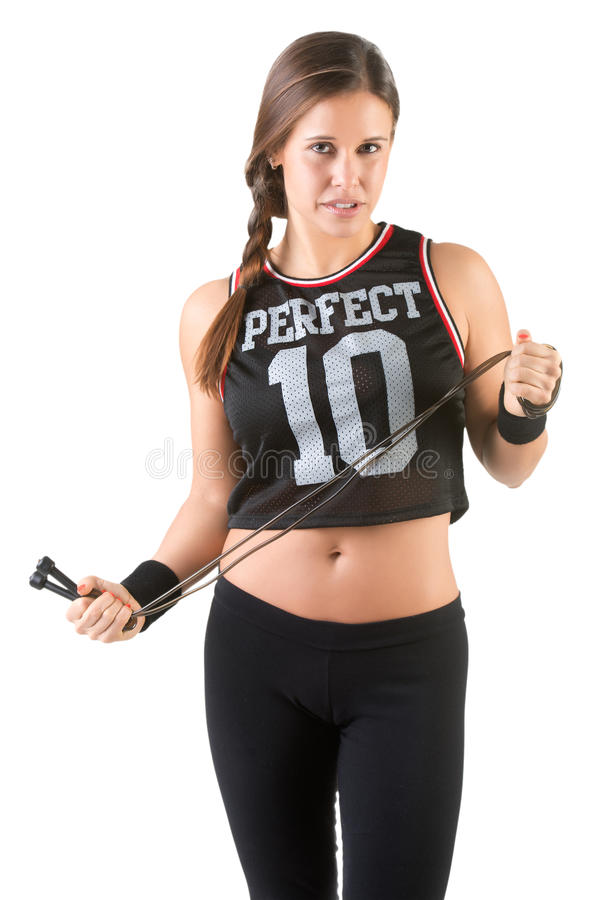 Sporty Woman With Jumping Rope. Sporty woman with a jumping rope, isolated in white stock images