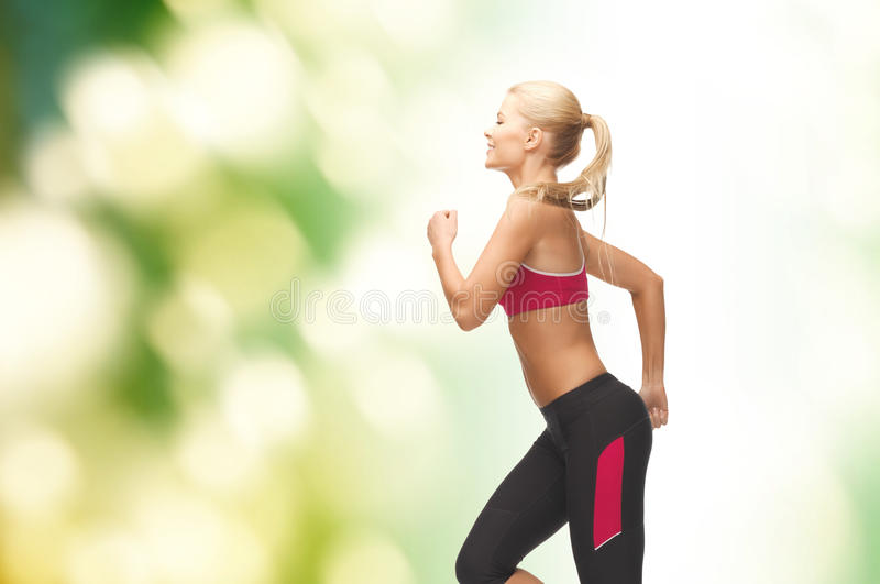 Download Sporty Woman Running Or Jumping Stock Image - Image of flying, sport: 40262841