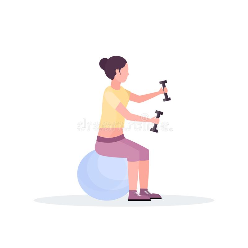Sporty woman sitting fitness ball girl holding dumbbells doing exercises training in gym aerobic pilates workout healthy vector illustration