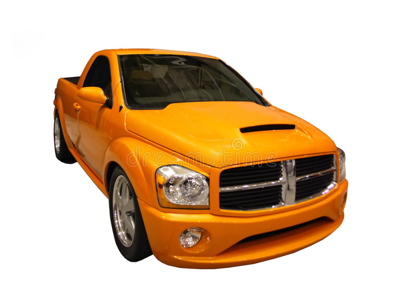 Sporty Yellow Dodge Ram Pickup Isolated Over White stock photo