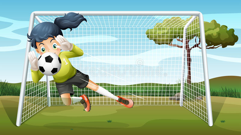 A sporty young girl playing football stock illustration
