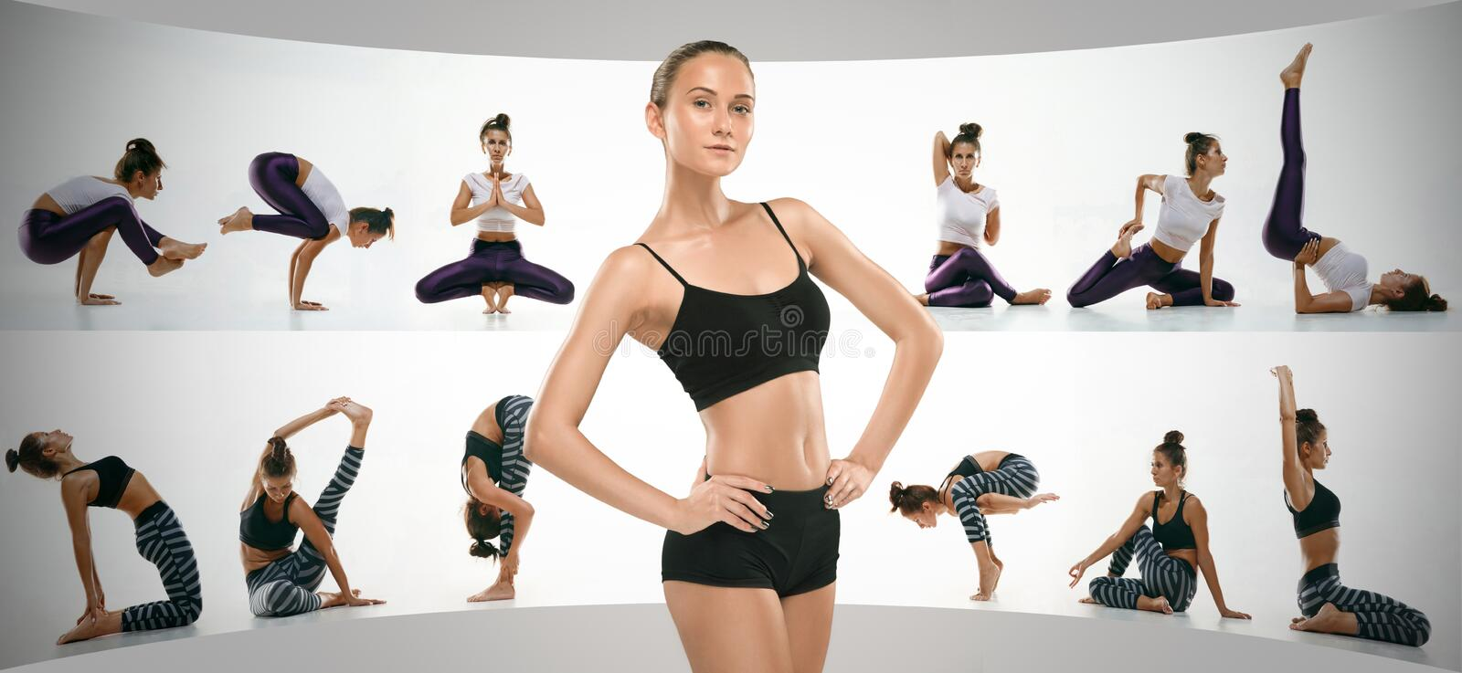 Sporty young woman doing yoga practice, creative collage stock image