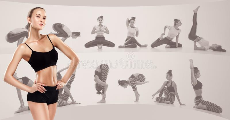 Sporty young woman doing yoga practice, creative collage stock images