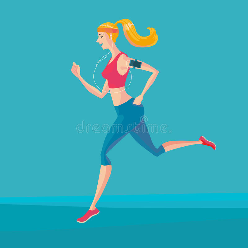 Sporty young woman jogger. Sporty young woman jogger listening to music on smartphone. Runner with smartphone armband. Vector Illustrator royalty free illustration