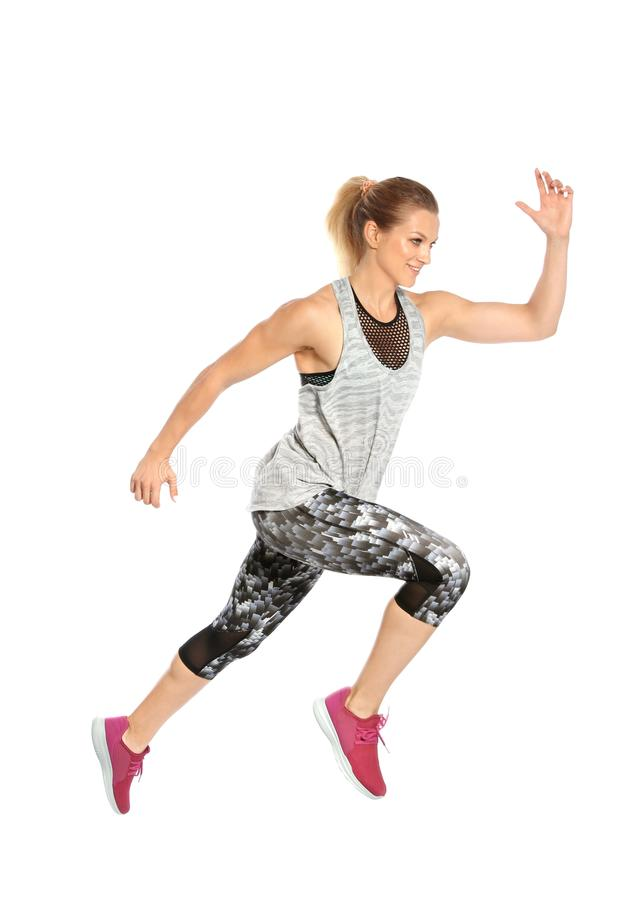 Sporty young woman running royalty free stock photo