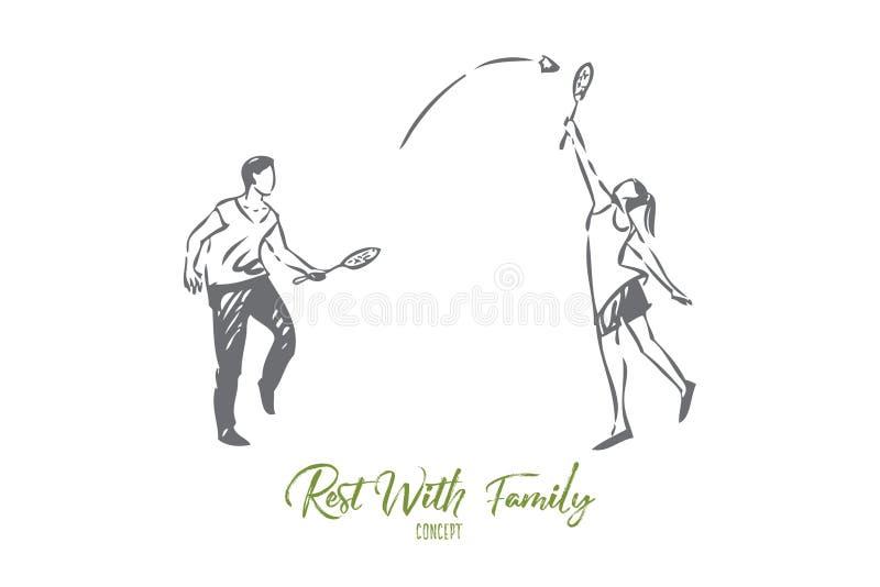 Sporty z rodzinnego pojęcia nakreśleniem Odosobniona wektorowa ilustracja royalty ilustracja