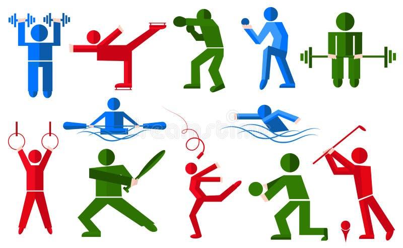 Sporty zaludniają w różnorodnych pozach bokser, golfista, łyżwiarka ilustracji