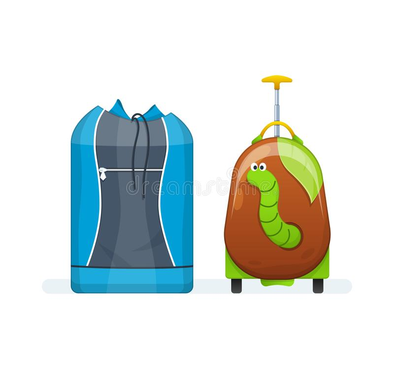 Sporty zdosą dla aktywnego życia codziennego, dziecko walizka na kołach ilustracja wektor