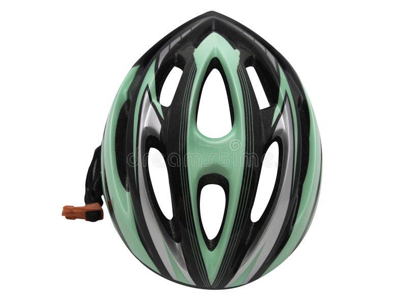 Sporty zielenieją rowerowego hełma bezpieczeństwo dla cyklisty odosobnienia obraz stock