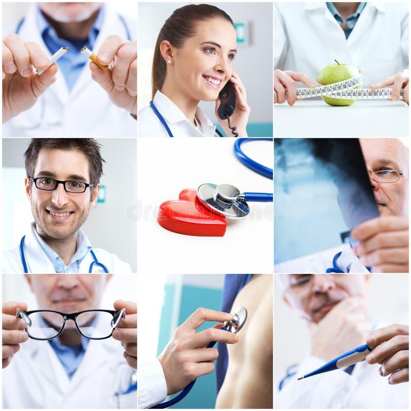 sporządzać mapę kolażu medycznego pióra stetoskop fotografia stock