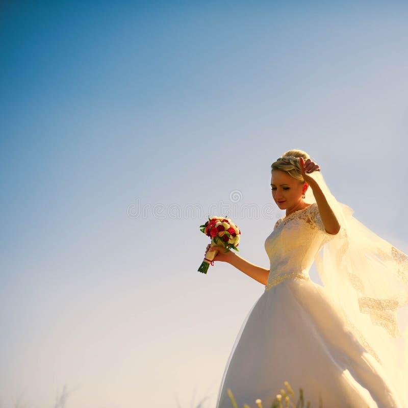 Sposa bionda caucasica splendida sui precedenti del beautif immagini stock libere da diritti