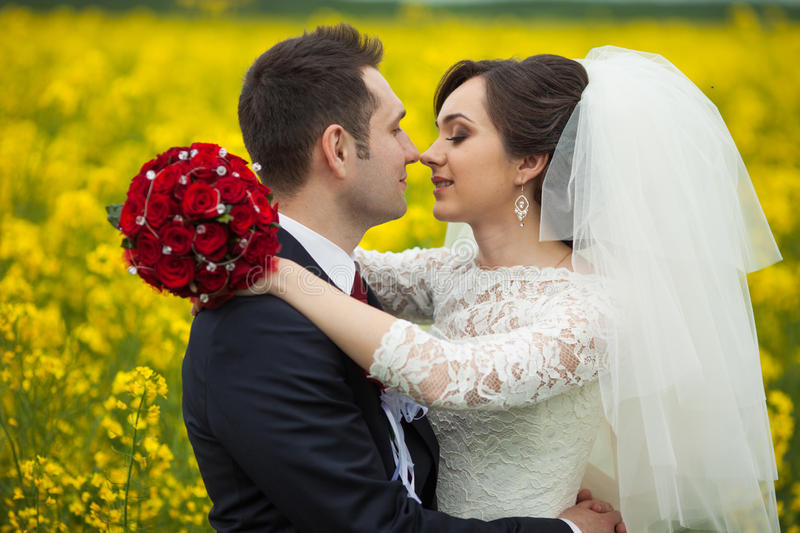 Sposa castana splendida alla moda con il mazzo rosso e il gro elegante fotografia stock libera da diritti