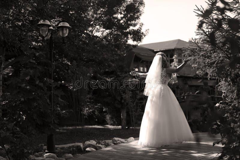 Sposa che fa piroetta nel parco fotografia stock libera da diritti