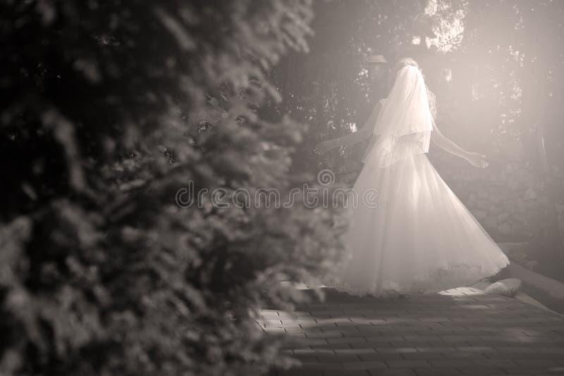 Sposa che fa piroetta nel parco immagine stock